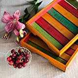ExclusiveLane Multicoloured Wooden Tray Set - Serving Tray Breakfast Tray for Home