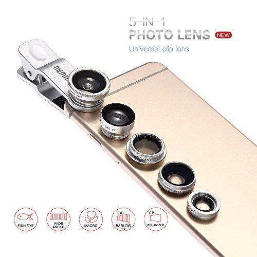 MEMTEQ® Universal 5 en 1 Kit de Lentille de caméra Objectifs Téléphone Clip-On Fisheye + 2 en 1 Macro + Grand Angle + Téléconvertisseur + Filtre CPL clip universel Camera Lens de téléphone pour Smartphone, iPhone 6, 6 plus, 5, 5C, 5S, 4 , 4s, Samsung Galaxy S6, S5, S4, S3, iPad 2, 3, 4, Air, Samsung Glaxy NOTE 2 1 3 N7100 I9300 S3 S4 S5 S2 i9600, Sony, Huawei Argent