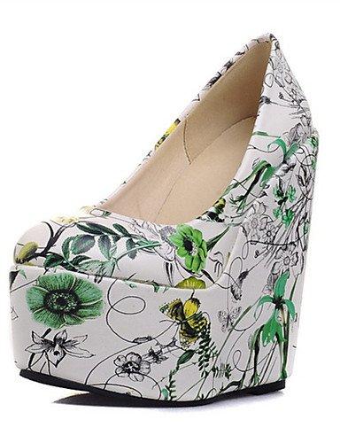 WSS 2016 Chaussures Femme-Mariage / Habillé / Décontracté / Soirée & Evénement-Bleu / Vert / Rose-Talon Compensé-Talons-Talons-Similicuir blue-us7.5 / eu38 / uk5.5 / cn38