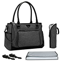 Nappy Changing Bag,BRINCH Stylish Multi-function Shoulder Baby Diaper Tote Bag Portable Shopping Handbag with Changing Pad,Stroller Straps and Insulated Pocket,Black
