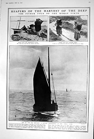 Old Original Antique Victorian Print 1922 Sailing Fishing Boat Fifie Creels Moray Firth Ladies Fashion