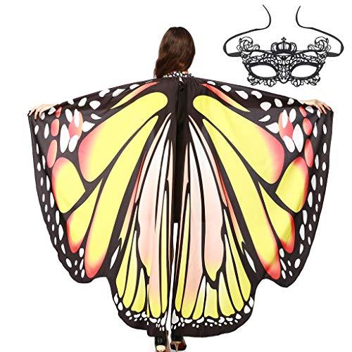 ZHANSANFM Schmetterling Kostüm Damen Flügel + Maske Faschingkostüme Erwachsene Poncho Umhang Schmetterling Schal Flügel Schal Tuch Schmetterlingsflügel Party Cosplay Kostüm -