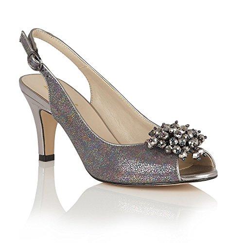 Lotus Clematis Pewter Metallic Sling-Back Court Shoes - 50679 6