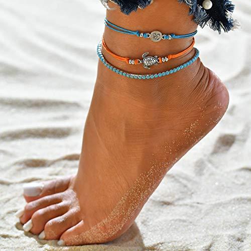 Homeofying 3 Stücke Böhmen Mehrere Schichten Schildkröte Runde Anhänger Seil Fußkettchen Strand Schmuck Boho Strand Berufung Urlaub Fußkettchen für Frauen Mehrfarbig