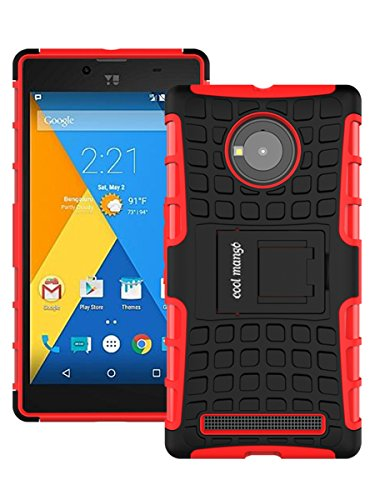 Micromax YU Yuphoria Protective Back Cover / Case : Cool Mango Premium Dual Layer Armor Protection Case Cover with Kickstand for Micromax YU Yuphoria - Red