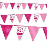 12ft Classic Pink Style Happy 80th Birthday Pennant Banner Bunting Decoration