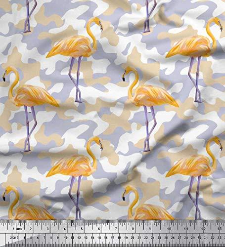 Soimoi Orange Baumwolljersey Stoff Tarnung Textur & Flamingo Vogel Stoff Drucke Meter 58 Zoll breit