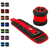 Umi. Essentials - Pesas lastradas para tobillos y muñecas con tira ajustable, 0,45 kg (rojo)