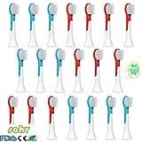 Sohv® Ersatz Aufsteckbürsten,Kompatibel Mit Philips Sonicare HX6034/33(HX6032)For Kids Aufsteckbürsten, Für Kinder Ab 4 Jahren,Standard,20 Stück(5er-Pack)[4,8,12,16,20 Stück Verfügbar],türkis.