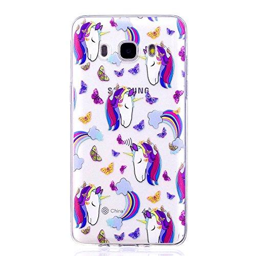 Samsung Galaxy J7 2016 Hülle, Hozor Niedlich Persönlichkeit Mode Serie Ultra Dünn TPU Bumper Case Kratzfest Backcover Schutzhülle Transparent Schale Flexible Weiche Silikonhülle Crystal Klar Handyhülle - Lila Einhorn