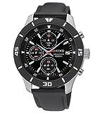 Seiko Herren-Armbanduhr XL Herrenuhr Chronograph Quarz Leder SKS405P2