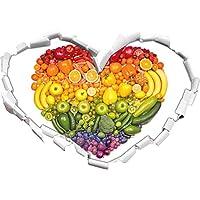 Frutta arcobaleno a forma di cuore in cuore l'adesivo formato aspetto, parete o una porta 3D: 92x64.5cm, autoadesivi della parete, decalcomanie della parete, Wanddekoratio
