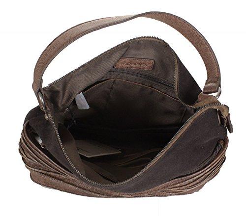 FREDsBRUDER sac 'Knautschzone' sac à bandoulière en cuir de vachette ciré daim mélange (33 x 26 x 10 cm) braun