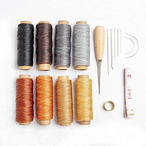 18pcs hilo encerado agujas coser mano Kit taladrar