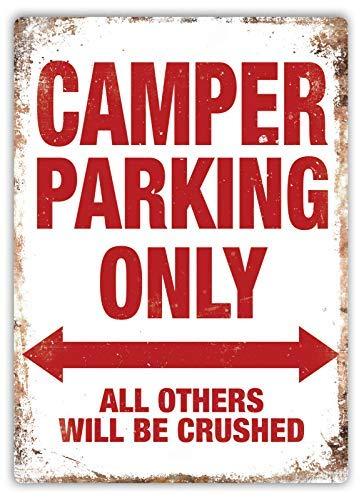 qidushop Schild mit Aufschrift Camper Parking Only, für Wohnwagen, VW, Bongo Hiace, aus Aluminium, lustiges Schild für Garage, Zuhause, Hof, Zaun Auffahrt.