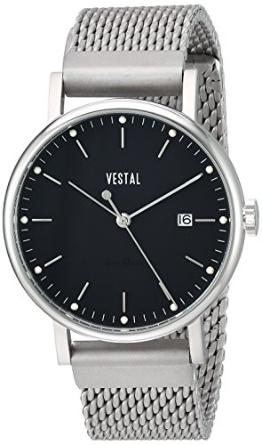 Vestal 'Sophisticate 36 Metal' Swiss Quartz Stainless Steel Dress Watch, Color:Silver-Toned (Model: SP36M01.MSVM)