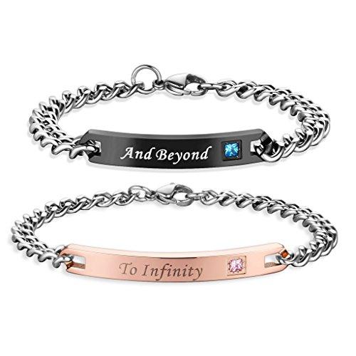 To Infinity and Beyond Set coppia di braccialetti per Lui e per Lei in Acciaio inox, 2 pezzi