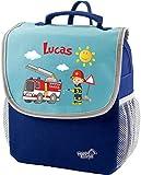 Mein Zwergenland Kindergartenrucksack Happy Knirps Next mit Name Feuerwehr, 6L, Blau