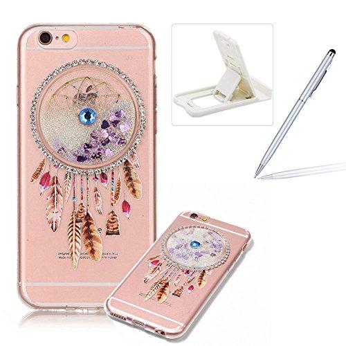 Custodia per Apple iPhone 6 Plus/ 6S Plus case,Herzzer Mode Crystal iPhone 6 Plus/ 6S Plus Elegante Creativo trasparente acchiappasogni con Bling Diamanti Strass Glitter liquido cuore amore Sabbie mob Bianca