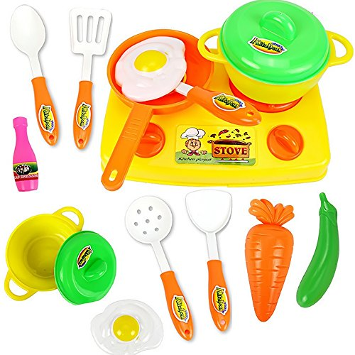 13 PCS Children Babies Kids Play House Kitchen Tableware Toy Educational Toy Include Kitchen Pan Pot Cookware Toy Set Random Color