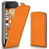 moex iPhone 4S | Hülle Orange 360° Klapp-Hülle Etui thin Handytasche Dünn Handyhülle für iPhone 4/4S Case Flip Cover Schutzhülle Kunst-Leder Tasche