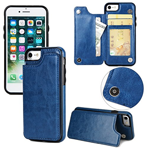 EKINHUI Case Cover Verrückte Pferd Textur Leder zurück Abdeckung Geldbörse Tasche Tasche mit Kickstand & Card Slots für iPhone 5 & 5s & SE ( Color : Black ) Blue