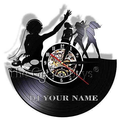 DFRTY DJ personnalisé Salle Bar Disque Vinyle Horloge Murale DJ Disco Platine Danse soirée Musique Personnaliser nom Mur Art