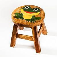 Robuster Kinderhocker/Kinderstuhl massiv aus Holz mit Tiermotiv Frosch, 25 cm Sitzhöhe preisvergleich bei kinderzimmerdekopreise.eu