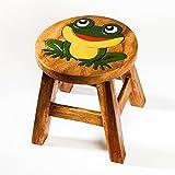 Robuster Kinderhocker/Kinderstuhl massiv aus Holz mit Tiermotiv Frosch, 25 cm Sitzhöhe