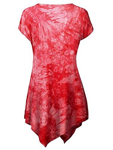 Damen Mode Rundhals T-shirt Kurze Ärmel Tops Blumen Bedrucktes Oberteile  Schlankes Pulli Irregulär Saumabschluss