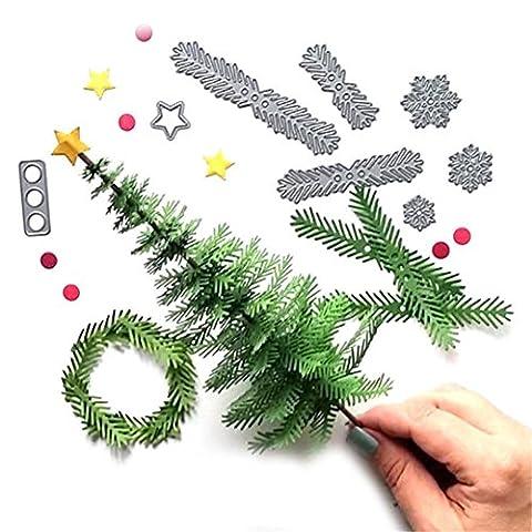 sixcup® Holly Blätter & Pine Äste Weihnachtsbaum Formen Schablone/strapazierfähiges Happy Life Style DIY Schneiden Schneeflocke stirbt Metall Schablonen a