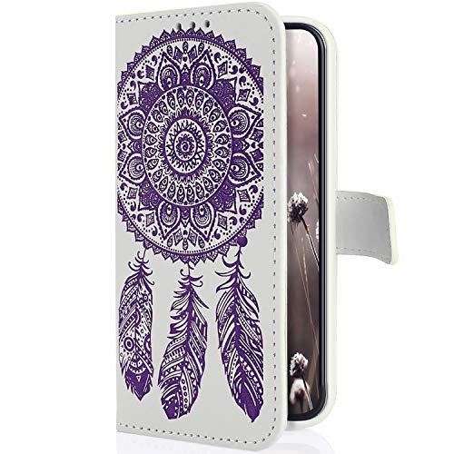 Uposao Kompatibel mit Samsung Galaxy S9 Plus Hülle Brieftasche Handyhülle Traumfänger Mandala Blume Leder Schutzhülle Wallet Flip Book Case Handy Tasche Ständer Kartenfächer Magnet,Weiß Lila
