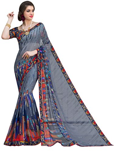 Sarees (Vastrang Sarees Women\'s Grey Color Beautiful Printed Pure Georgette Designer Party wear printed Saree with Art Silk Print Lace Border & same Border Matching Printed Art Silk Blouse_VS51513158