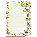 Weekly Planner Pad - GARDEN BIRDS design with SHAPED EDGE - use as meal planner, jobs list or for messages