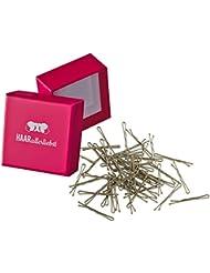 HAARallerliebst 50 Mini Haarklammern Haarnadeln Bobby Pins kurz beige für Blonde Haare 3,4cm klein in Pinker Box