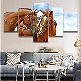 zfkdsd Leinwand Hd Drucke Gemälde Für Wohnzimmer Wandkunst 5 Stücke Tier Pferd Bilder Sky Poster Dekoratives Haus (Kein Rahmen)-30x40cmx2,30x60cmx2,30x80cmx1