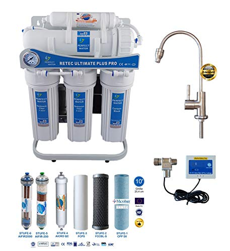 Retec Osmoseanlage 600 GPD Perfect Water No. 1 Ultimate Plus PRO 2019 Direct Flow kein Tank nötig Umkehrosmosewasserfilter Wasserfilter Trinkwasser Umkehrosmose Reverse Osmosis