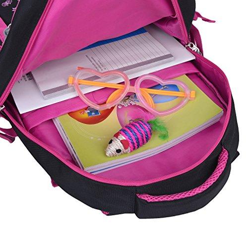Schulrucksack Maedchen,COOFIT Mädchen Schulrucksack Rucksäcke Schulranzen Schultasche Tasche Travel Sport Outdoor Rucksack für Schüler (Coofit Design Rose) - 6