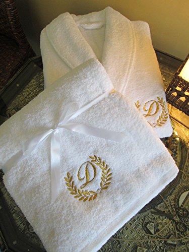 Top Qualität Hotel Edition Set Bademantel + Badetuch mit Gold/Silber personalisierbar, 100 % Baumwolle, Embroidery Gold, Bathrobe XL