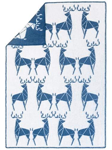 Wollene Babydecke DEERS | 88% Neuseelandwolle; 12% Baumwolle | 90x130 cm | Blau (Deer Wolldecke)