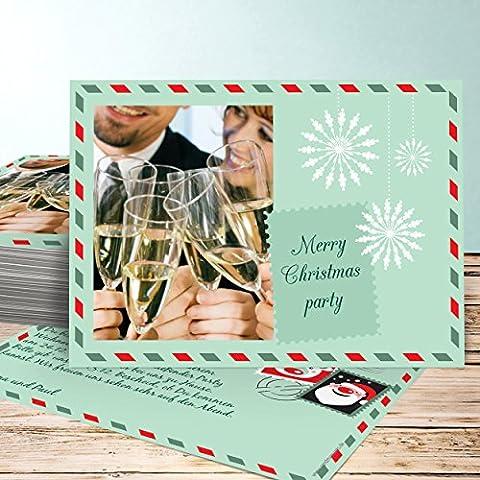 Weihnachtsfeier Einladungen, Weihnachtspost Foto 110 Karten, Horizontal einfach 148x105 inkl. weiße Umschläge, Grün
