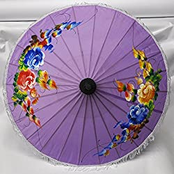 Asian Wood & Tissue Umbrella Ø 50, Handmade & Imported From Thailand (80123-lila-g)