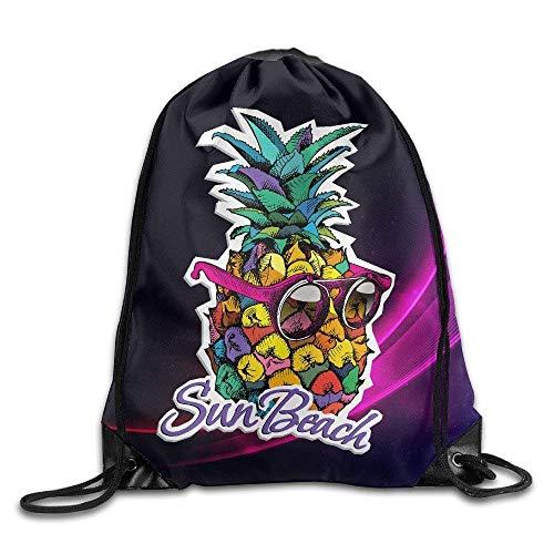 Colorful Rainbow Flag Pattern Fruit Pineapple 2 Nylon Drawstring Drawstring Bag for Kids