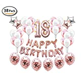 ICheap Konfetti Latex Luftballons Rosegold Weiß, Happy Birthday Ballons, 18th Geburtstag für Baby Shower Girl Adult Geburtstag Party Dekorationen (18th)