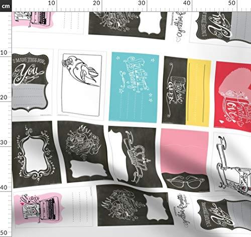 Quiltetiketten, Quilt, Schild, Nähen, Schreibmaschine, Nähmaschine Stoffe - Individuell Bedruckt von Spoonflower - Design von Cynthiafrenette Gedruckt auf Sport Lycra - Nähmaschine Für Lycra