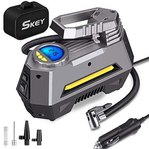 SKEY Digital Tyre Inflator, Portable Air Compressor Pump, DC 12V 150PSI, Car Pump Tire Inflator with Auto Shut Off, LED Flashlight, 3 Nozzle Adaptors and Extra Fuse (4) (3)