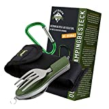 OUTDOOR FREAKZ Outdoor cutlery and camping cutlery foldable made of stainless steel (green)