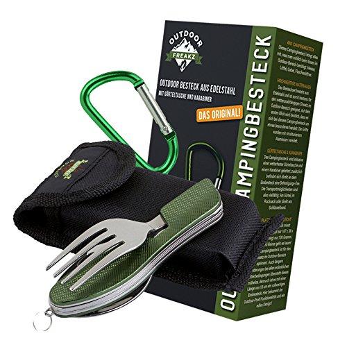 OUTDOOR FREAKZ Outdoor Campingbesteck Klapp-Besteck aus Edelstahl mit Gürteltasche, das Original! (grün +)