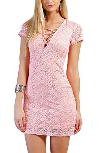 INFINIE PASSION - Dentelle - Robe sexy rose Rose