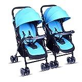 Meen Twin Kinderwagen, Tragbar Und Einfach Zu Falten Kann Sitzen Abnehmbar Ultraleichten Schock Baby Regenschirm (Farbe : Blau)